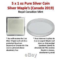 Lot De 5 X 1 Oz 2019 1 Oz D'argent Du Canada Feuille D'érable Coin (réserve No)