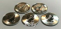 Lot De Cinq 2015 3/4 Onces. 9999 $ En Argent Fin 2 Coins Du Canada Argent Loup Gris Bu
