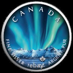 Lumières Polaires Parc National Jasper 2020 1 Oz Couleur Argent Canada Aurora Borealis