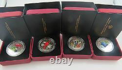 M-1 2007-08 Ensemble De 4 Oiseaux Colorés 25 Cents Monnaie Royale Canadienne Voir Photos