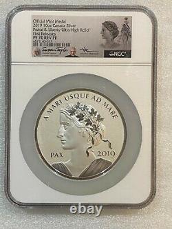 Médaille Officielle De La Monnaie 10 Oz 2019 Canada Paix & Liberty Pf 70 Rp Taylor/mercanti