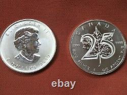 Mint Roll 2013 Canada Sliver Maple Leaf Coins Lot De 25 1oz. 9999 Argent Pur