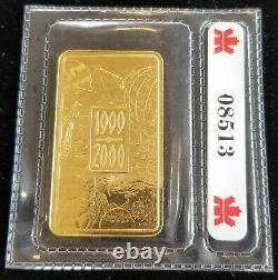 Monnaie Royale Canadienne 1999-2000 1 Troy Ounce Barre 99,99 % Or Fin Scellé