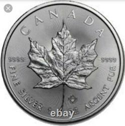 Monnaie Royale Canadienne 25 X 1 Oz Pièces De Monnaie Feuille D'érable Argentées Années Aléatoires. 9999 Ag
