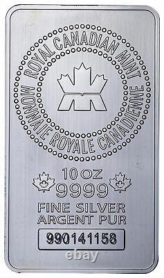 Monnaie Royale Canadienne (mrc) 10 Troy Oz. 9999 Fine Silver Bar
