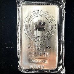 Mrc 10 Oz Silver Bar Monnaie Royale Canadienne. 9999 Lingots D'argent Fin (scellé)