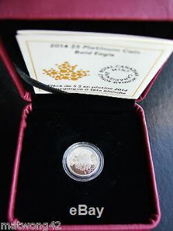 Nouveau 2014 Canada 1/10 Oz Pur Platinum Coin Pygargue À Tête Blanche 5 $ Coin