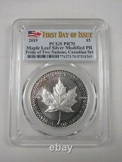 Pcgs 2019 Canada & États-unis Le Pride Two Nations Set Silver Eagle & Maple Leaf Pr70
