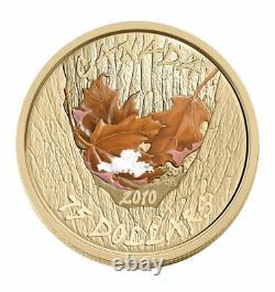 Pièce D'or 2010 Set 4 X 75 $ Maple Leafs En Couleurs Saisonnières Monnaie Royale Canadienne