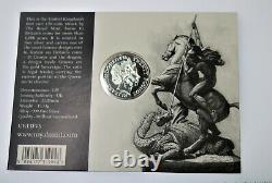 Rare 2013 Royaume-uni Grande-bretagne St. George & Dragon 1/2 Oz. 999 Pièce En Argent En Carte