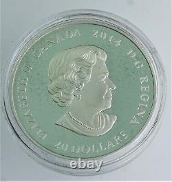 Rare 2014 1 Oz. 999 Impressions De Feuille D'argent Green Pièce Canadienne D'érable Coa & Ogp