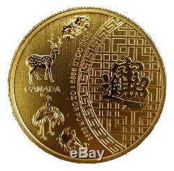 Rare 2014 Canada 1 Oz D'or 5 Cinq Bénédictions Bu 50 $ 350 Tirage Limité Chinois Chanceux