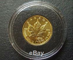Rcm Or Fin 1/10 Oz Coin 1999 Canada Feuille D'érable 20 Ans Anniversaire Privé