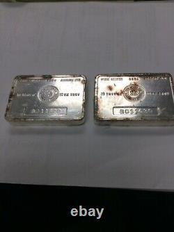 Rcm Royal Canadian Mint Vintage Numéros Consécutifs 10 Oz Barres D'argent