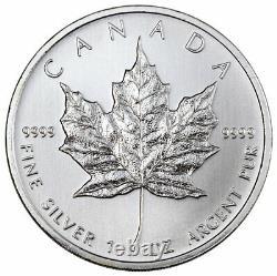 Rouleau De 25 2011 Canada 1 Oz Feuille D'érable Argentée 5 $ Gem Bu Pièces