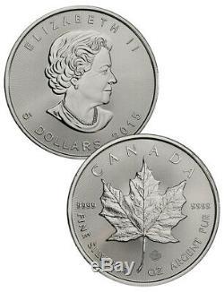 Rouleau De 25 2015 Canada 1 Oz 9999 Argent Maple Leaf 5 $ Bu Coins Sku33764