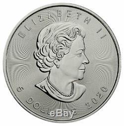 Rouleau De 25 2020 Canada 1 Oz D'argent Maple Leaf 5 $ Pièces Gem Bu Presale Sku59993