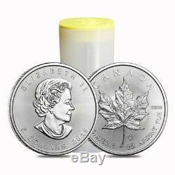 Rouleau De 25 Argent Feuille D'érable Canadienne 1 Oz Coins 2019 Année 25 Onces D'argent