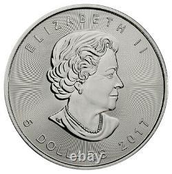 Rouleau Du 25 2017 Canada 1 Oz Feuille D'érable Argentée 5 $ Gem Brilliant Uncirculated