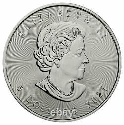 Rouleau Du 25 2021 Canada 1 Oz Feuille D'érable Argentée 5 $ Pièces Gem Bu