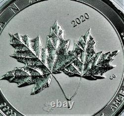 Scarce 2020 2 Oz. 9999 Pièce De Monnaie Canadian Twin Maple Leaf Bu En Capsule