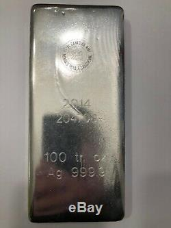 Silver Bullion Bar, 100 Oz T, 0,9999 Pureté (99,99%) Ag, Monnaie Royale Canadienne