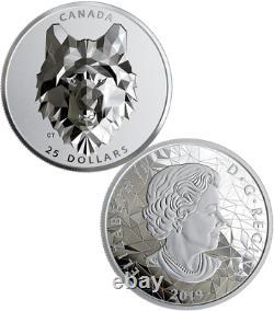 Tête D'animal À Facettes Multiples De Loup 2019 25 $ 1oz Silver Proof Coin Canada