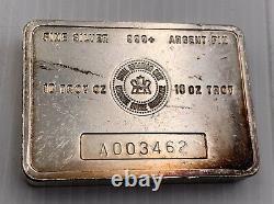 Vieille Monnaie Royale Canadienne (mrc) 10 Oz 999+ Barre D'argent -rare A Série A003462